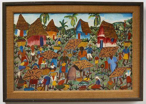 Haitian Painting Signed S. B. Kanehand