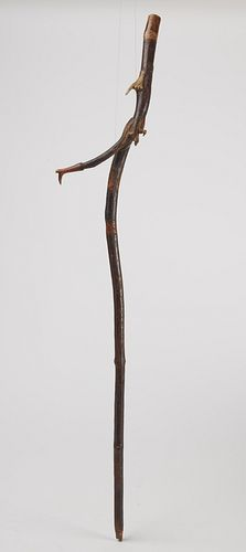 Fine Folk Art Cane w/ Hand, Foot, Dog, Bird Snakes