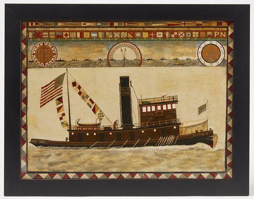 Folk Art Painting - Fulton Tug