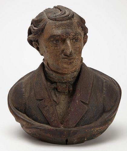 Folk Art Bust of William Seward by Joseph Bowers