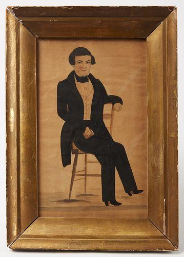 Folk Art Portrait of a Gentleman - J Evans