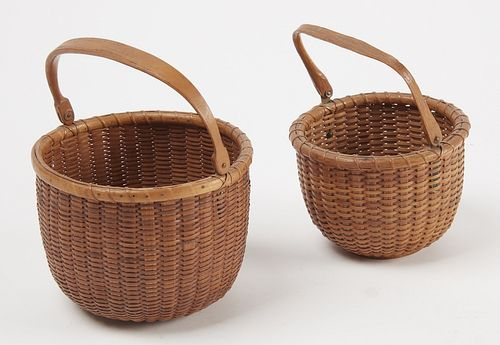 Two Nantucket Baskets with Labels