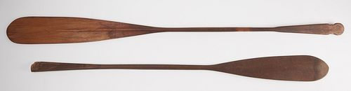 2 Hand Carved Canoe Paddles