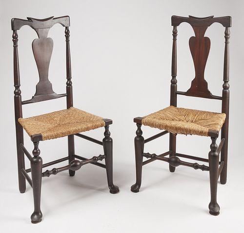 Pair Hudson Valley Queen Anne Chairs