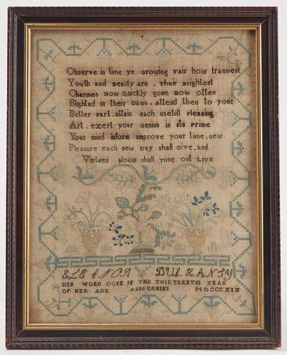 Rare Nova Scotia Needlework Sampler 1819