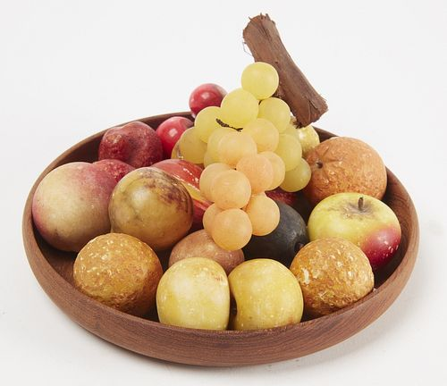 18 Miniature Pieces Stone Fruit and MCM Wood Plate