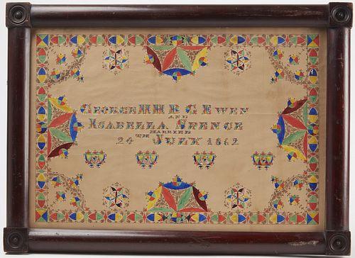 Watercolor Marriage Certificate 1862