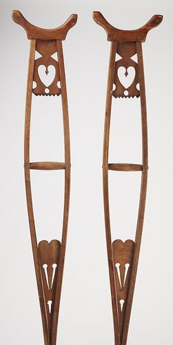 Unusual Pair of Crutches with Cutout Hearts