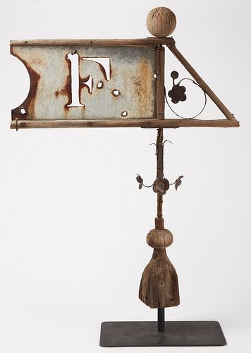 Early Hand Made Banner weathervane