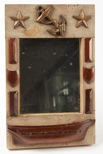 Folk Art Mirror with Half Hull Carving