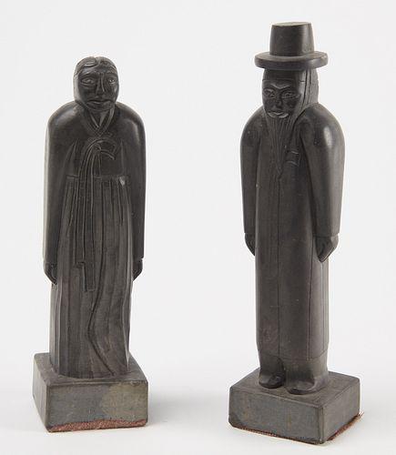 Pair of Black Stone Figurers