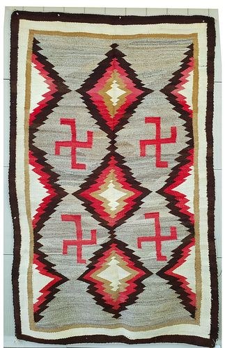 Large Navajo Regional Rug with Whirling Logs