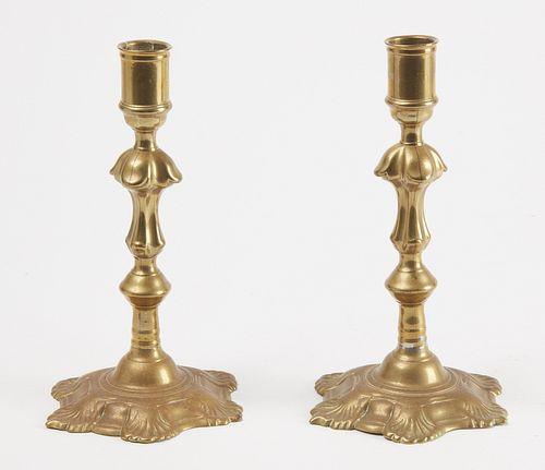 Pair Queen Anne Brass Candlesticks