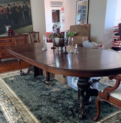 Claw Foot Mahogany Banquet Table with Leaves