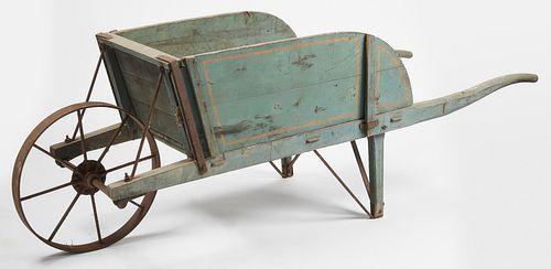 19th Century Wheelbarrow in Original Blue Paint