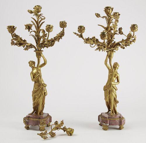 Pair of French Gilt Bronze 5 Light Candelabra