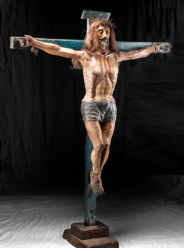 Lifesize 18th C. Spanish Colonial Painted Wood Crucifix