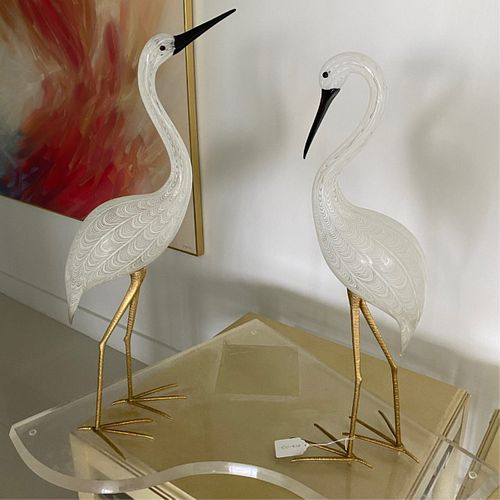 """Licio Zanetti Murano """"Two Cranes"""" Sculpture"""