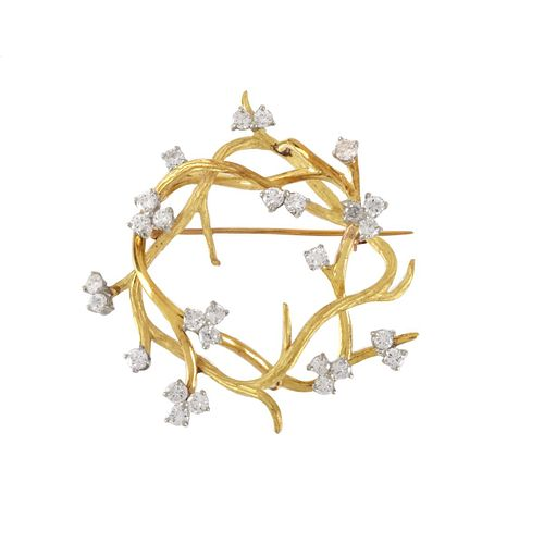 Diamond and 18K Brooch