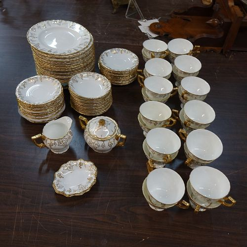 "(87) Pc. Royal Crown Derby ""Vine Gold"" Dinnerware"