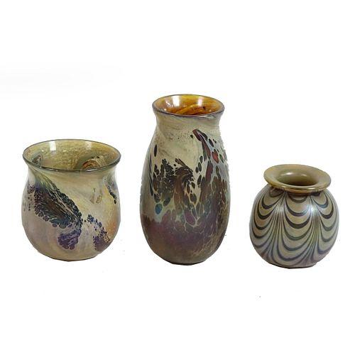 Three (3) Aaron Slater Art Glass Vases