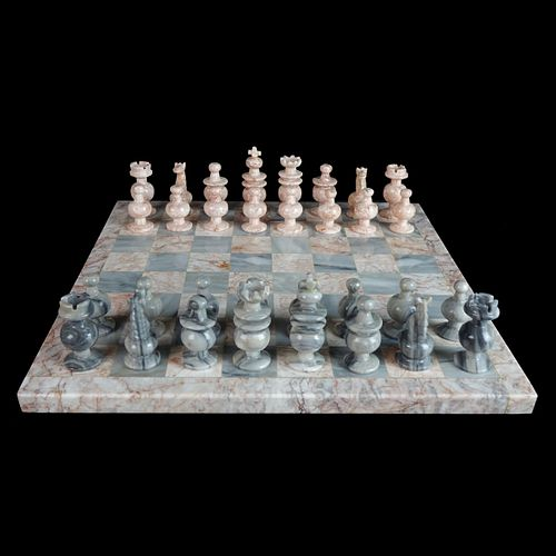 Vintage Marble and Onyx Chess Set