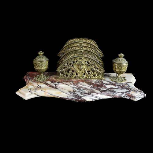 Antique Art Nouveau Bronze and Marble Ink Stand
