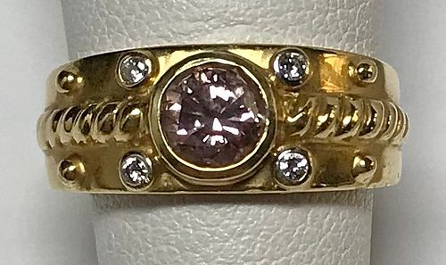 18K Gold, Pink Diamond & White Diamond Ring