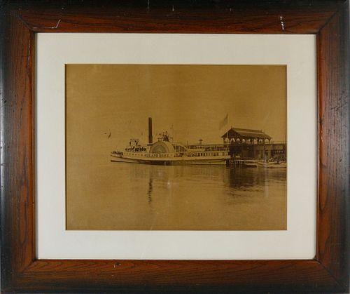 Late 19th c. Nantucket Photograph Side-wheel Steamer - Island Home