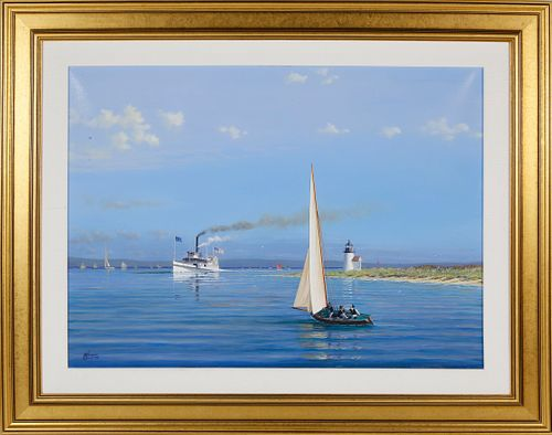 """Tim Thompson Oil on Canvas """"Summer in the  Sound - Steamer Nantucket Passing Brant Point Lighthouse"""""""