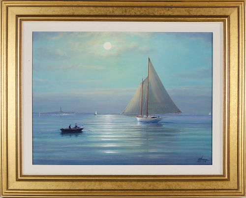 """Tim Thompson Oil on Canvas """"Light Airs Off Great Point - Nantucket"""""""