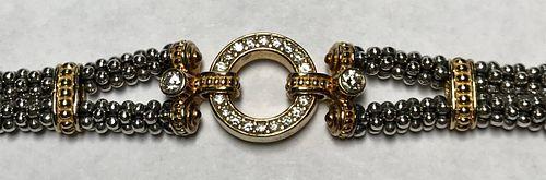 Lagos Caviar Circle Game Diamond 18K SS  Bracelet