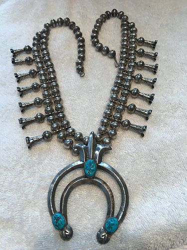 HBC Squash blossom necklace silver turquoise Navaho 14 flowers 27 inch