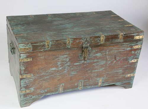 Contemporary Teak Brass Bound Trunk with Blue Washed Paint Decoration