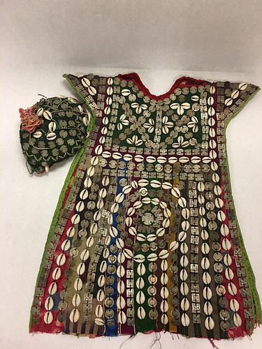 Nomadic Turkmen Cherjew Child's Ceremonial Garment Adorned with Cowrie Shells