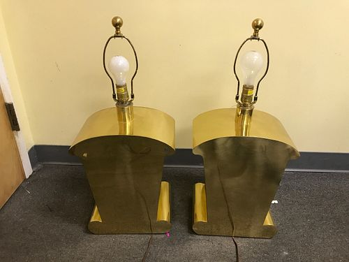 Vintage MID CENTURY Solid Brass PAIR Chapman Co. TEXAS TOAST LAMPS No SHADES