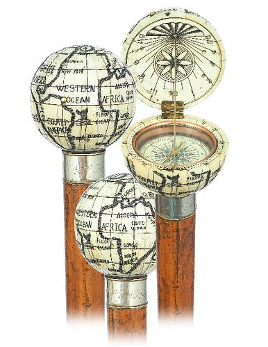 Jumbo Bone Globe and Sundial Cane