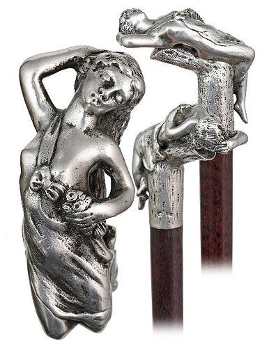 Silver Art Nouveau Figural Cane