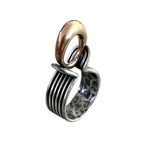 Bimetal silver and bronze ring