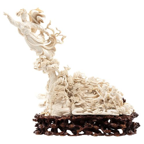 Chang'e Goddess of the Moon, China Ca. 1900,  Carved and inked ivory on carved wooden base.