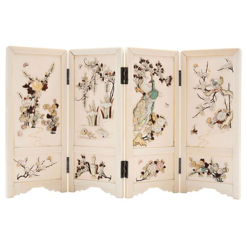 Folding Screen, Japan, 19th century, Shibayama Style from the Meiji period, In polychrome ivory with mother-of-pearl and bone inlays.