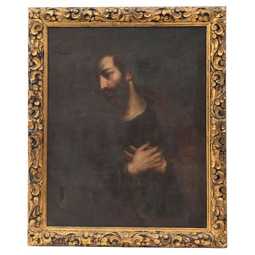 Penitent Saint Jerome, 19th century, Oil on canvas, Carved and gilded wooden frame.