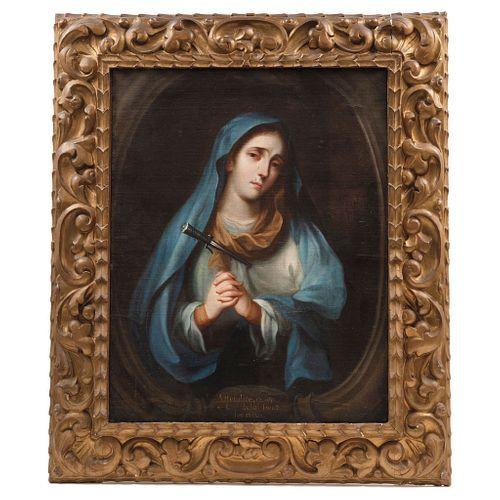 JOSÉ DE ALCÍBAR, Our Lady of Sorrows, Oil on canvas, Signed