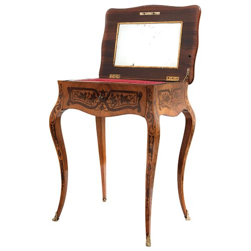 Dressing table, Early 20th century, Wood carved and decorated with marquetry, hinged lid and mirror.