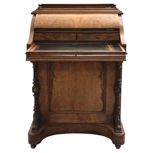 Davenport Desk, England, Early 20th century, Made in veneered wood with sliding desk.