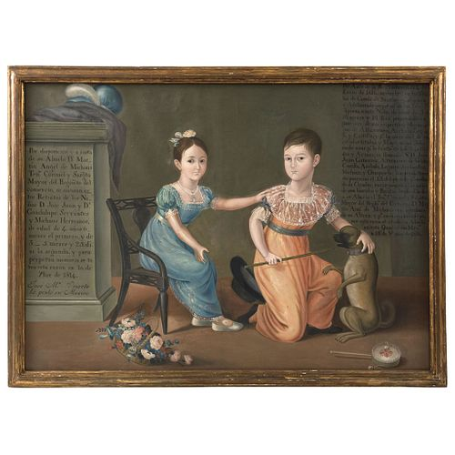 Portrait of Guadalupe Servantes y Michaus y Hermano*, Mexico, 19th century, Oil on canvas. *Copy of the original homonymous oil painting by José María