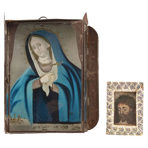 Pair of Religious Images, Mexico, 19th century, Our Lady of Sorrows in tin niche, and Holy Face, Oil on zinc sheet.