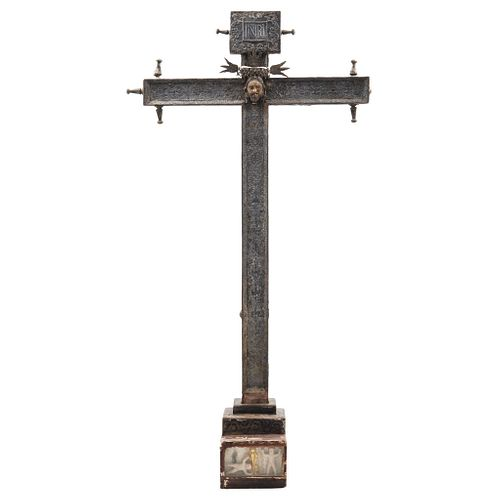 Lectern-type Cross, Mexico, 18th century, Carved, polychrome wood with metal plating and the face of Christ in wood.