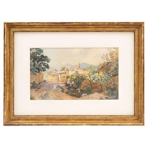 PAUL FISCHER. VISTA DE PUEBLO, 19th century, Watercolor on paper, Signed