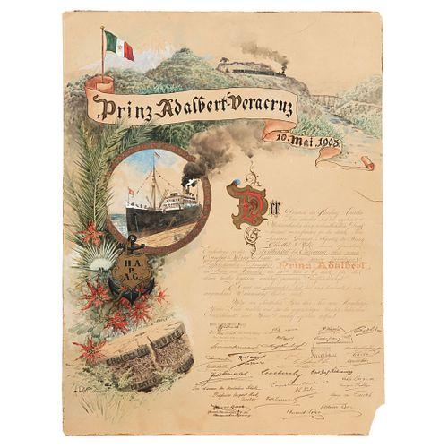 AUGUST LÖHR. PÓSTER CONMEMORATIVO DE LA RUTA EUROPA MÉXICO DEL BARCO PRÍNCIPE ADALBERTO EN VERACRUZ. Watercolor on paper.